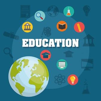 Ícones de educação e elearning