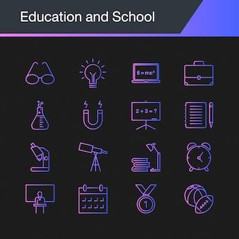 Ícones de educação e escola