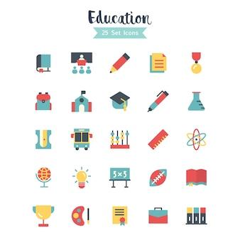 Ícones de educação estilo plano de vetor