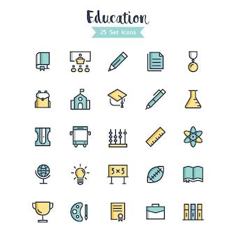 Ícones de educação vector preenchido estilo de contorno