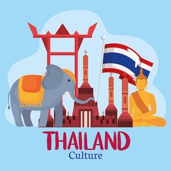 Ícones de elefante e tailândia