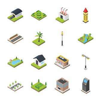 Ícones de elementos comerciais