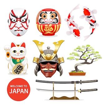 Ícones de elementos da cultura artística do japão