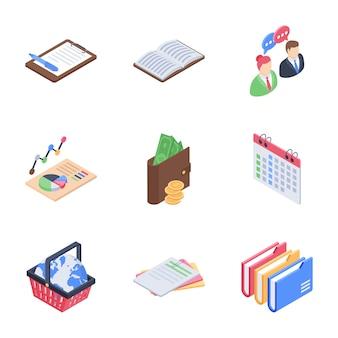 Ícones de elementos de negócios