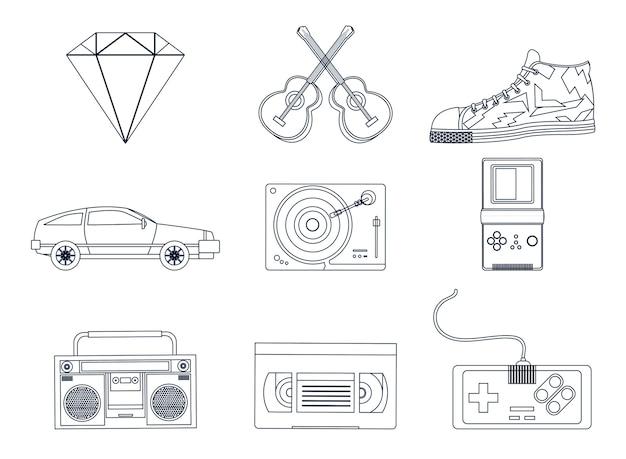 Ícones de elementos retro