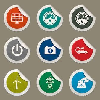 Ícones de eletricidade definidos para sites e interface do usuário
