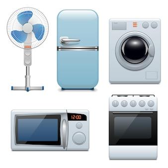 Ícones de eletrodomésticos de vetor