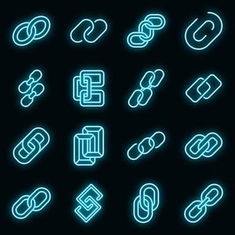 Ícones de elo de corrente definem vetor neon