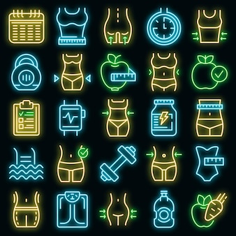Ícones de emagrecimento definem vetor neon