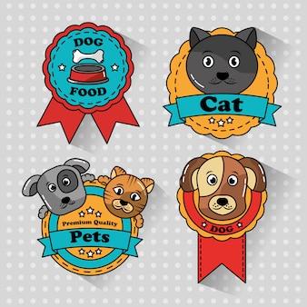 Ícones de emblemas de medalha de gato e cachorro de estimação