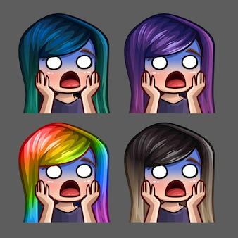 Ícones de emoção assustaram a fêmea com cabelos compridos para redes sociais e adesivos