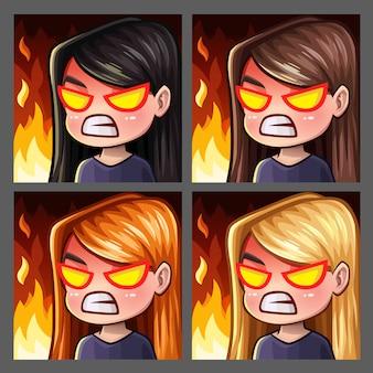 Ícones de emoção enfurecem a fêmea com cabelos compridos para redes sociais e adesivos