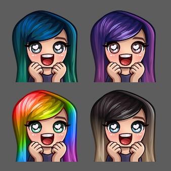 Ícones de emoção feliz amor feminino com cabelos compridos para redes sociais e adesivos