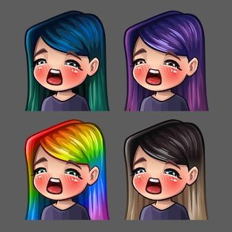 Ícones de emoção gasm feminino com cabelos compridos para redes sociais e adesivos