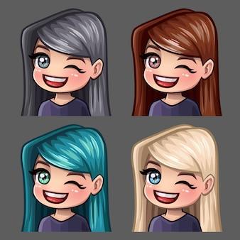 Ícones de emoção piscadela fêmea com cabelos compridos para redes sociais e adesivos