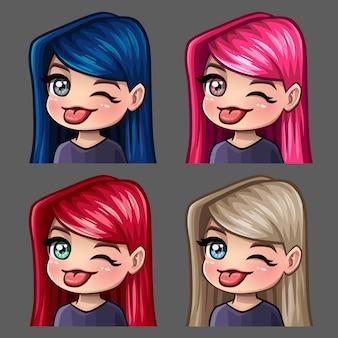 Ícones de emoção piscam e mostram a língua da fêmea com cabelos compridos para redes sociais e adesivos