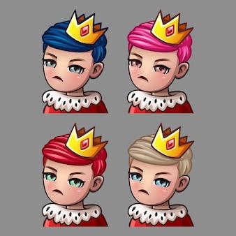 Ícones de emoção rei macho para adesivos e redes sociais