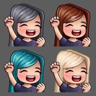 Ícones de emoção sorriam feliz fêmea com cabelos compridos para redes sociais e adesivos