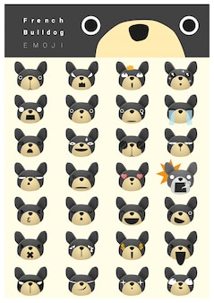 Ícones de emoji de buldogue francês