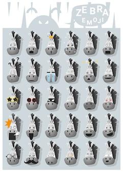 Ícones de emoji de zebra