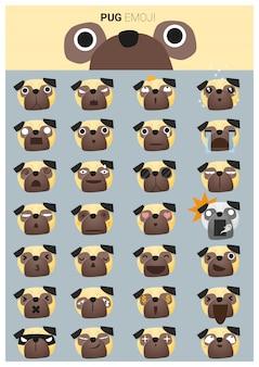 Ícones de emoji pug