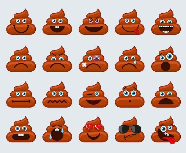 Ícones de emoticons de emoticons de cocô