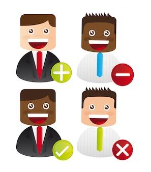 Ícones de empresário com sinais sobre vetor de fundo branco