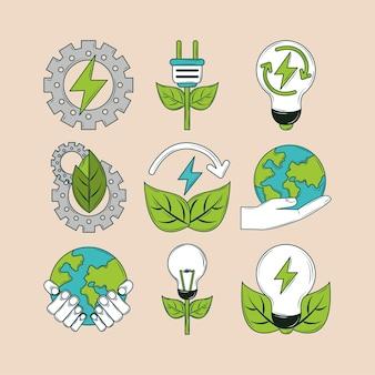 Ícones de energia renovável
