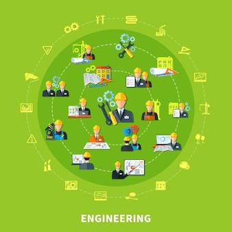 Ícones de engenharia rodada composição