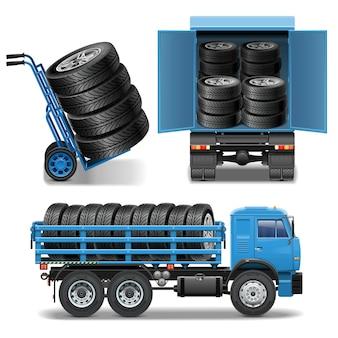 Ícones de entrega de pneus isolados no fundo branco