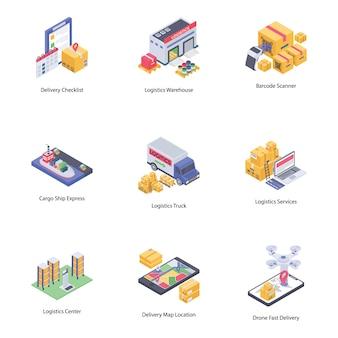 Ícones de entrega logística