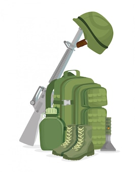Ícones de equipamento de guerra de soldado