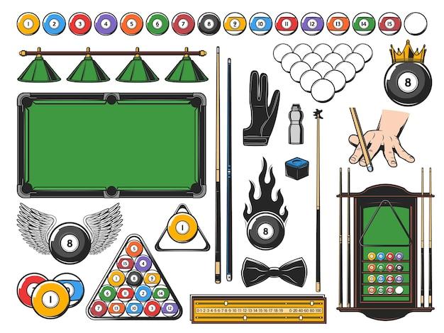 Ícones de equipamento de jogo de sinuca e bilhar e itens de jogador.