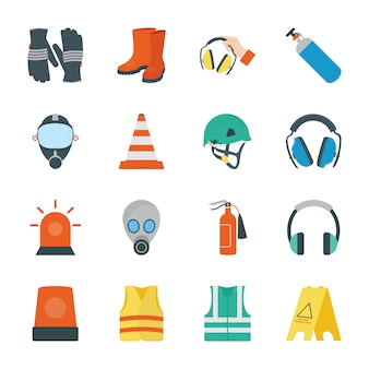 Ícones de equipamento de segurança