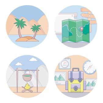 Ícones de equipamento de viagem