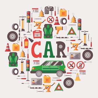 Ícones de equipamento e manutenção de carro na composição do quadro redondo