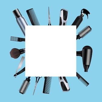 Ícones de equipamentos de ferramentas de cabeleireiro em ilustração de fundo azul