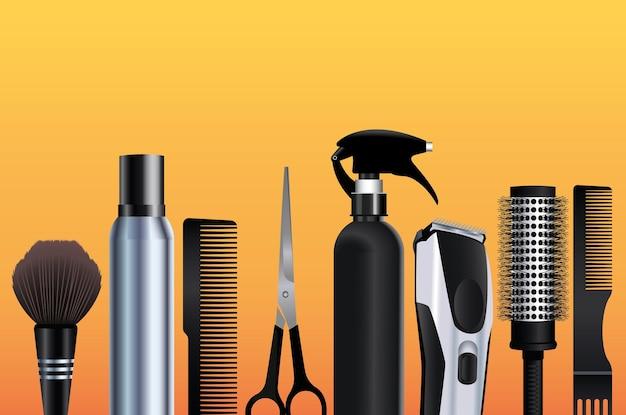 Ícones de equipamentos de ferramentas de cabeleireiro em ilustração de fundo laranja