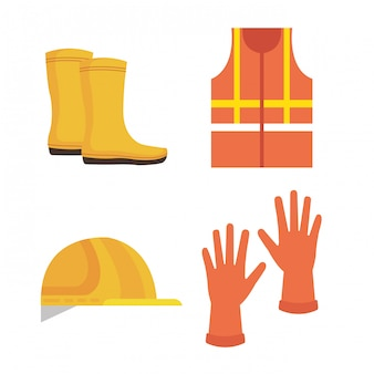Ícones de equipamentos de segurança industrial