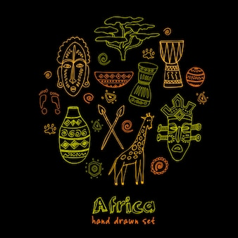 Ícones de esboço de áfrica definidos desenhados à mão