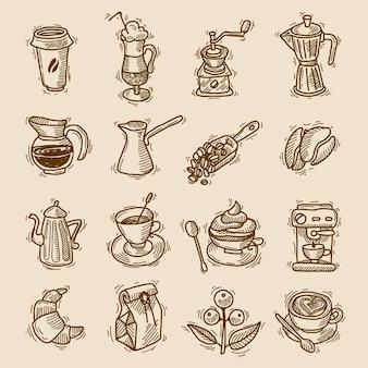 Ícones de esboço de café configurados
