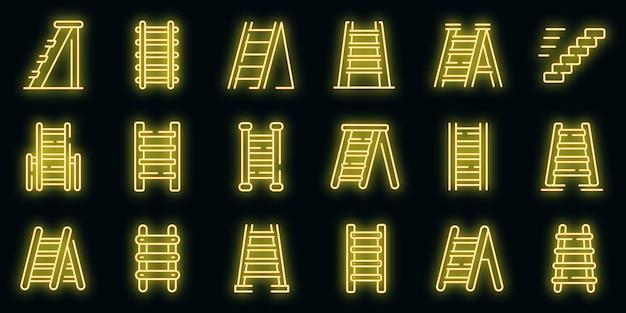 Ícones de escada de mão definem vetor neon