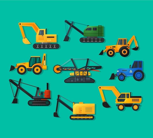 Ícones de escavadeiras em estilo simples e sombra longa. escavadeira de mineração e escavadeira de caminhões, antigas e modernas.