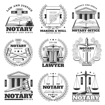 Ícones de escritório, advogado e escritório de advocacia, emblemas de vetor monocromático. livro de leis, pena de pena e coroa de louros, símbolo da balança da justiça, martelo do juiz do tribunal e o último rolo de pergaminho ou documento