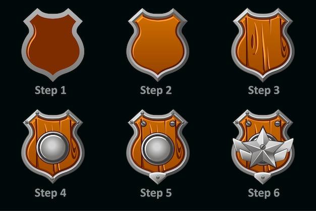 Ícones de escudo. desenho passo a passo do escudo protetor militar de madeira