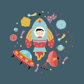 Ícones de espaço na coleção de estilo cartoon