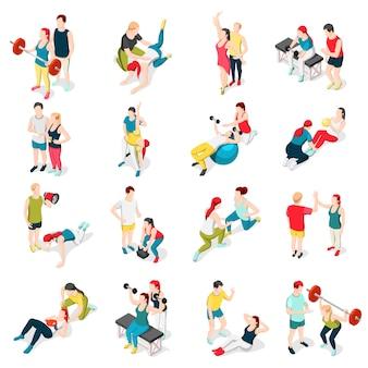 Ícones de esporte de personal trainer