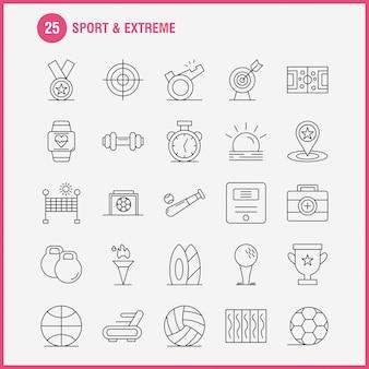 Ícones de esporte e linha extrema