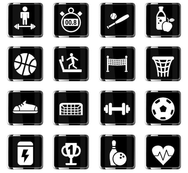 Ícones de esporte na web para design de interface de usuário