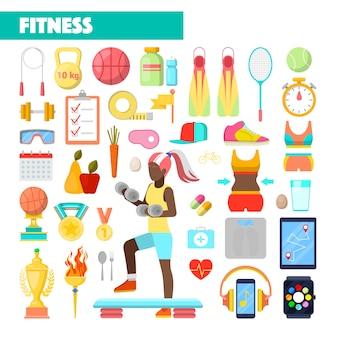 Ícones de estilo de vida saudável de instrutor de fitness com mulher exercitando